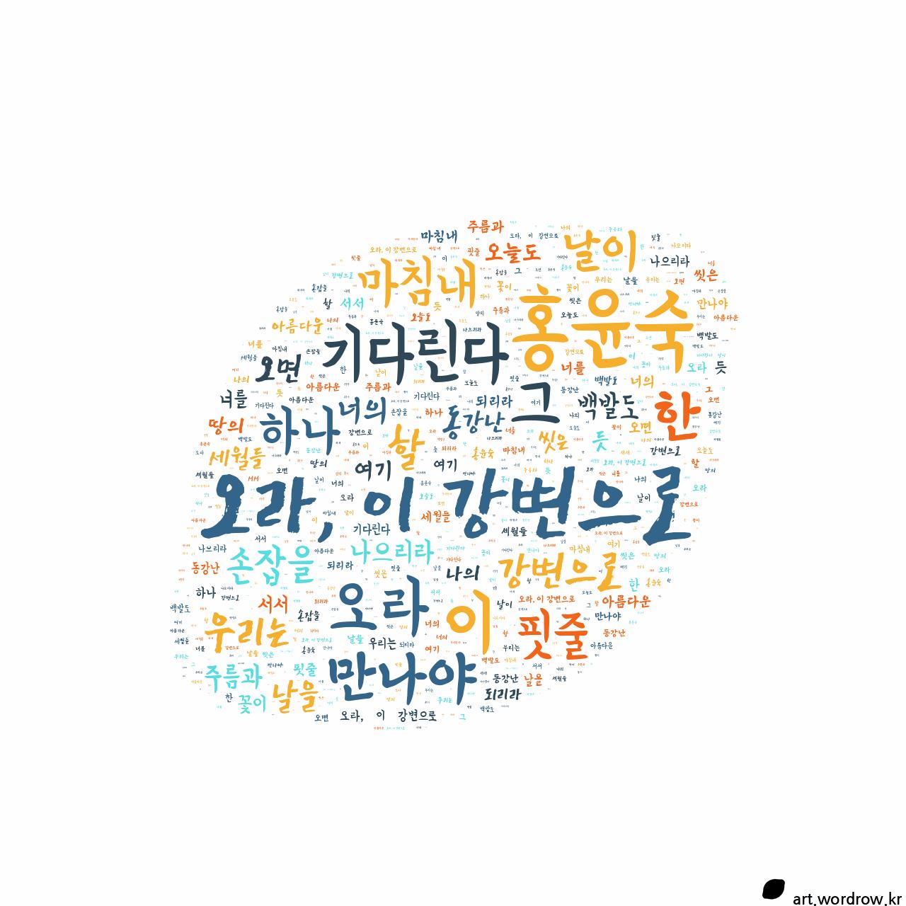 워드 클라우드: 오라, 이 강변으로 [홍윤숙]-10